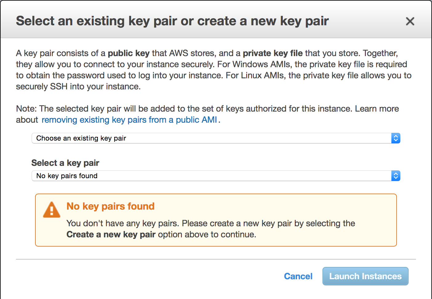 KeyPair: AWS generates a keypair for you  (make sure to save the PEM file!)
